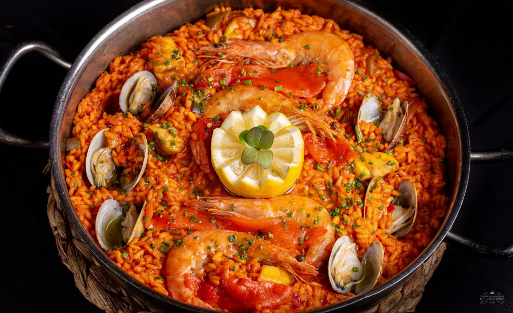 Paella-style rice with monkfish, shrimp and squid