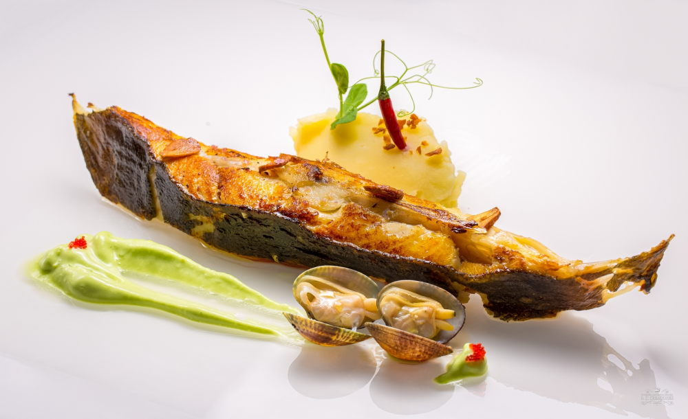 Grilled turbot with sea branch foam