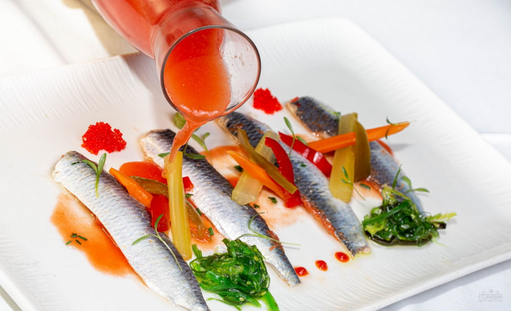 Bloody Mary with marinated sardines in cider vermouth and pickled vegetables