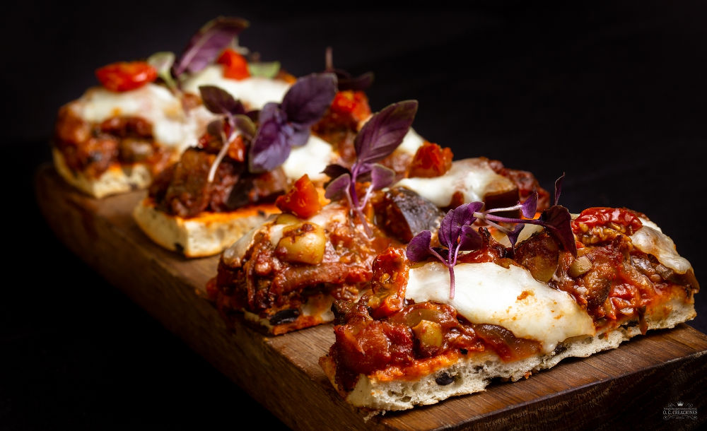 Focaccia Bread with Caponata and Burrata Cheese